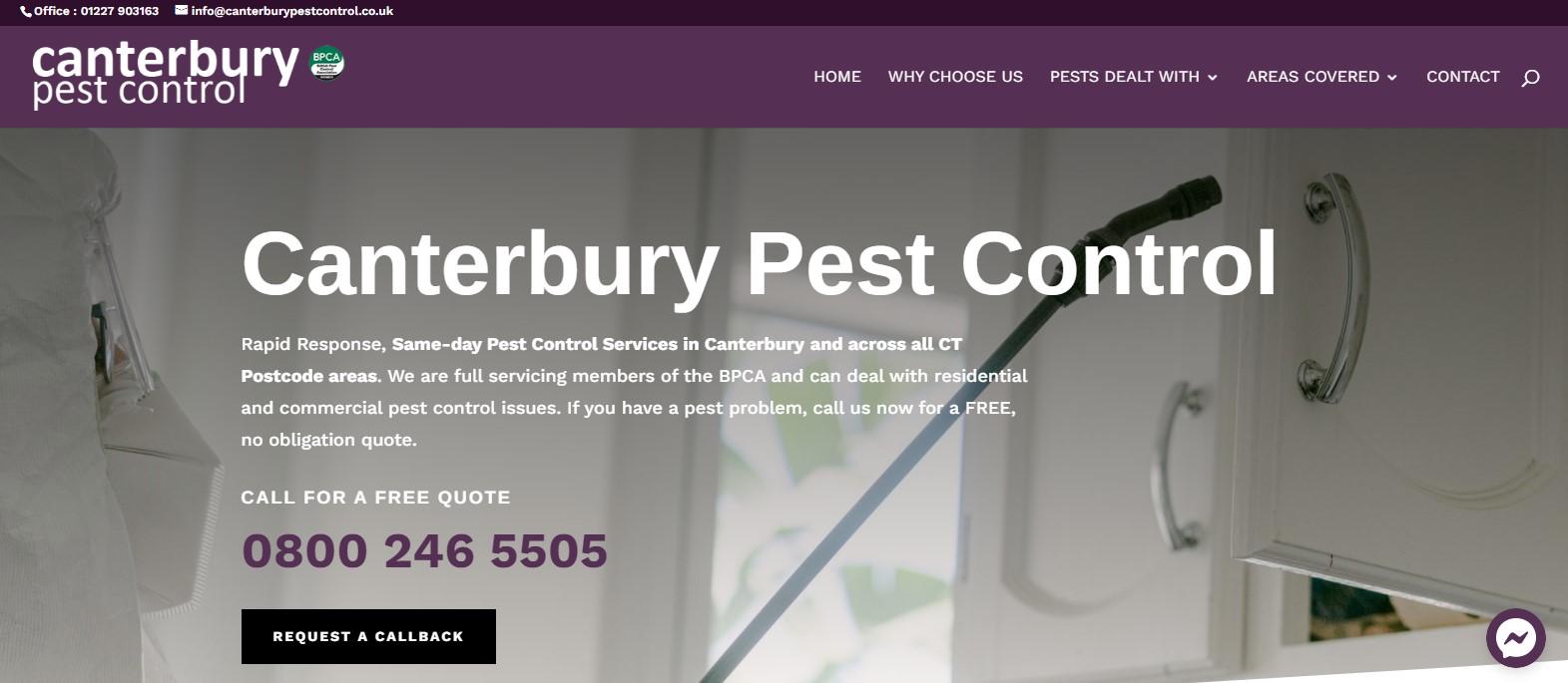 Canterbury Pest Control website
